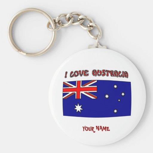 Keychain I Love Australia Flag Your Name Key Chain