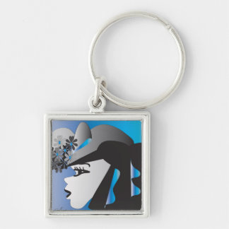 keychain  Lady with a flowered hat