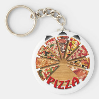 Keychain Pizza on the cutting board