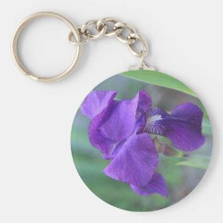 "Keychain, ""Purple Iris"" Basic Round Button Key Ring"