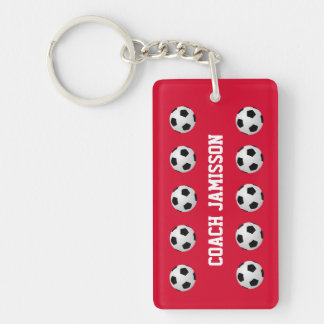 Keychain, Red, for Soccer Coach or Player Single-Sided Rectangular Acrylic Key Ring
