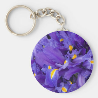 "Keychain, ""Spring Iris"" # 50 Basic Round Button Key Ring"