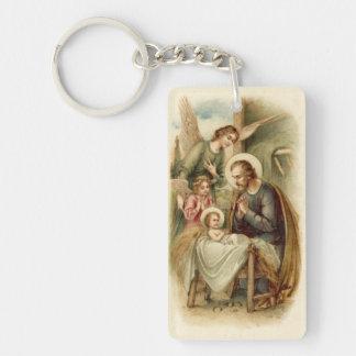 Keychain: St. Joseph Nativity Single-Sided Rectangular Acrylic Key Ring