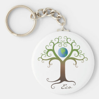 Keychain: Swirly heart tree with planet earth Key Ring