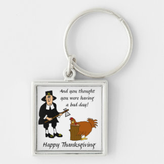 Keychain- Thanksgiving Silver-Colored Square Key Ring