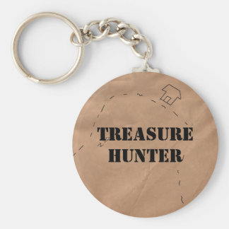 Keychain: Treasure Hunter, on an Old Map Basic Round Button Keychain