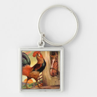 Keychain Vintage Art Horse Rooster Farm Morning AM