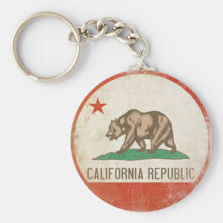Keychain with Distressed California Republic Flag