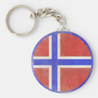 Keychain with Distressed Norwegian Flag