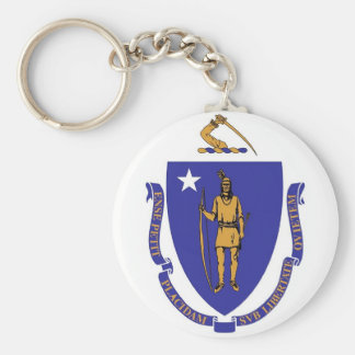 Keychain with Flag of Massachusetts State
