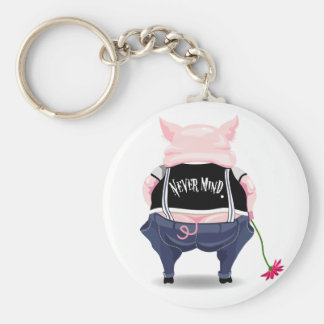 Keychain with funny pig picture