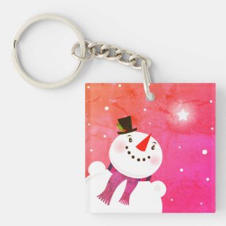 Keychain with snowman / Pink edition