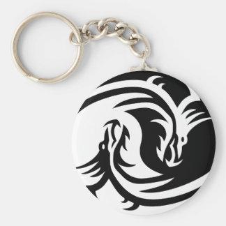 Keychain Yin Yang Dragons Button