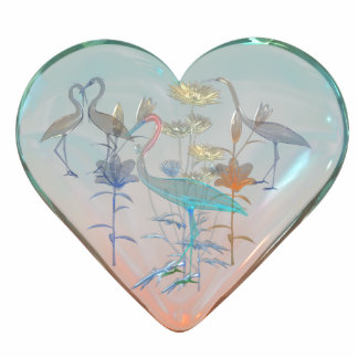 Keychains Photo Sculpture Birds In Glass Heart Photo Cutout