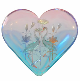 Keychains Photo Sculpture Birds In Glass Heart Acrylic Cut Outs