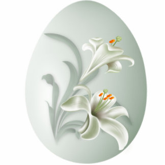 Keychains Photo Sculpture White Flower In Egg Cut Out