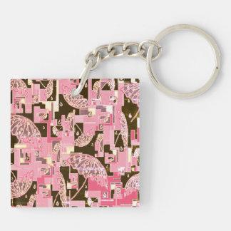 Keychains pink brown umbrellas