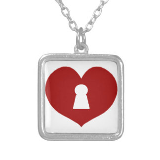 Keyhole Heart Red Silver Plated Necklace