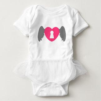 Keyhole Heart Wing Grey-Pink Baby Bodysuit