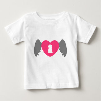 Keyhole Heart Wing Grey-Pink Baby T-Shirt