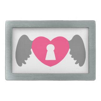 Keyhole Heart Wing Grey-Pink Belt Buckle