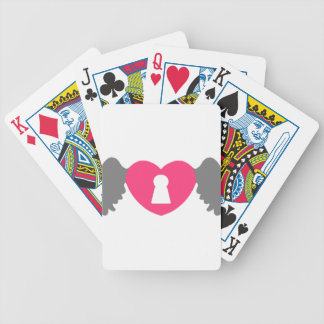 Keyhole Heart Wing Grey-Pink Bicycle Playing Cards
