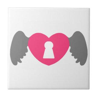 Keyhole Heart Wing Grey-Pink Ceramic Tile