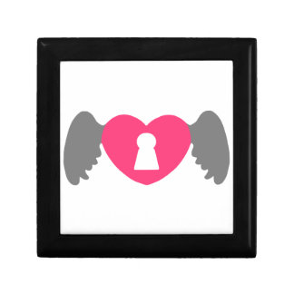 Keyhole Heart Wing Grey-Pink Gift Box