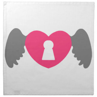 Keyhole Heart Wing Grey-Pink Napkin