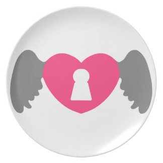 Keyhole Heart Wing Grey-Pink Plate