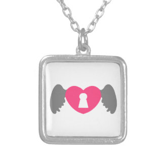 Keyhole Heart Wing Grey-Pink Silver Plated Necklace