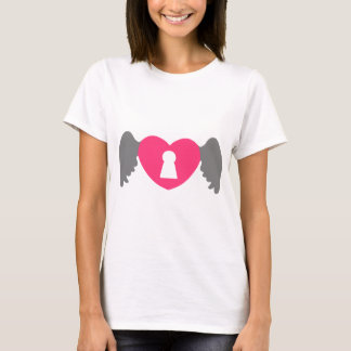 Keyhole Heart Wing Grey-Pink T-Shirt