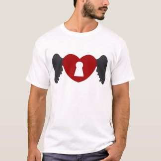 Keyhole Heart Wing Grey-Red T-Shirt