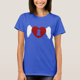 Keyhole Heart Wing White-Red T-Shirt