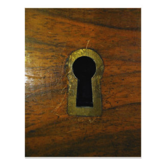 Keyhole in a wooden door flyers