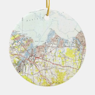 Keyport, Union Beach & Keansburg NJ Map (1954) Ceramic Ornament
