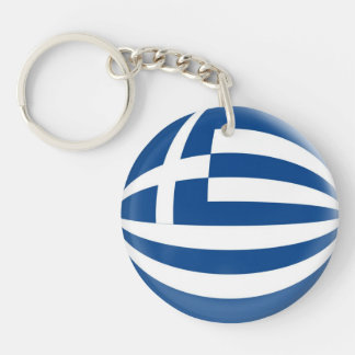 Keyring Greece flag Single-Sided Round Acrylic Key Ring