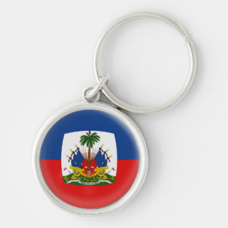 Keyring Haiti flag Silver-Colored Round Key Ring