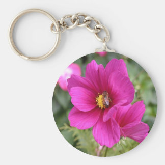 Keyring Pink Cosmos with a wasp Basic Round Button Key Ring