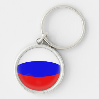 Keyring Russia Russian flag Silver-Colored Round Key Ring