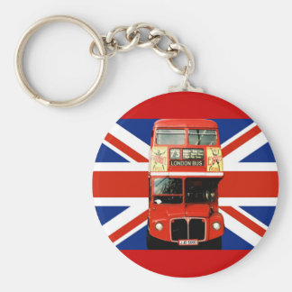 Keyring with Bus and British Flag Key Chains