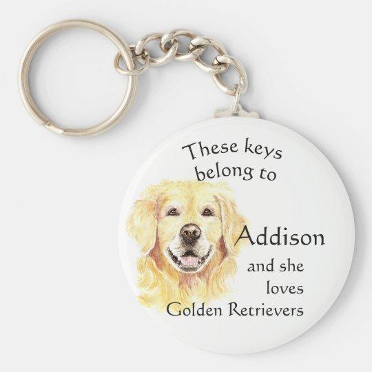 Keys Belong to Custom Name Loves Golden Retriever Key Ring