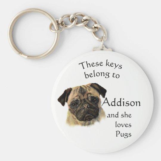 Keys Belong to Custom Name Loves Pug Dogs Key Ring