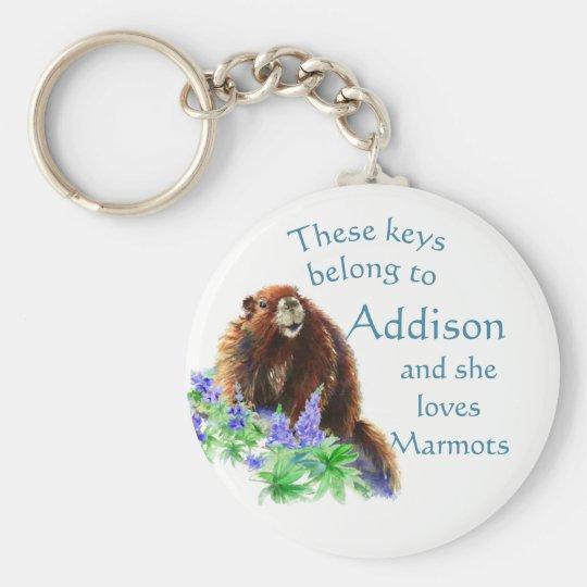 Keys Belong to Custom Name Loves the Marmot Animal Key Ring