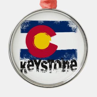 Keystone Grunge Flag Metal Ornament