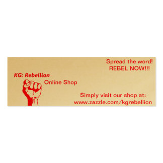 """KG: Rebellion Supporter """"Spread-The-Word"""" Cards Pack Of Skinny Business Cards"""