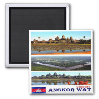 KH - Cambodia - Angkor Wat - Mosaic - Collage Square Magnet