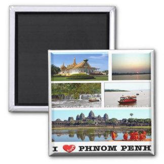 KH - Cambodia - Phnom Penh - I Love - Collage Square Magnet