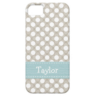 Khaki and Blue Polka Dot iPhone 5 Case