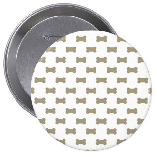 khaki Beige Dog Bones On Bright White Background 10 Cm Round Badge